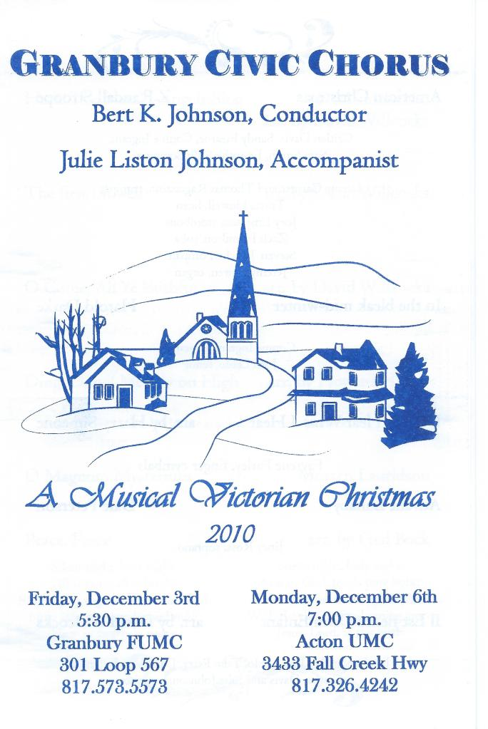 2010 Christmas Concert Program Cover