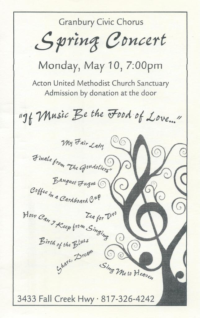 Granbury Civic Chorus 2010 Spring Concert Program Cover